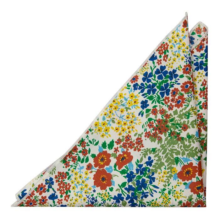 Bomull Lommetørkler, Gule, blå og rødbrune blomster på hvitt, Hvit, Blomstrete