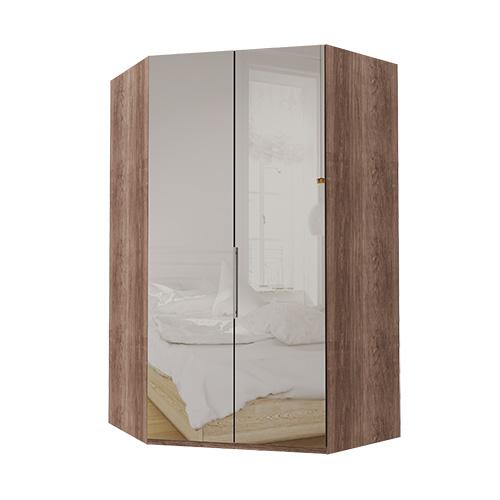 Walk-in Atlanta garderobe 216 cm, Speil, Mørk rustikk eik