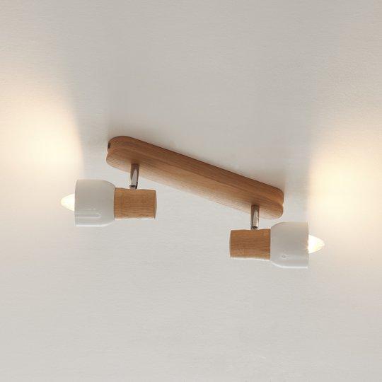 Kaksilamppuinen puinen Svantje-kattovalaisin