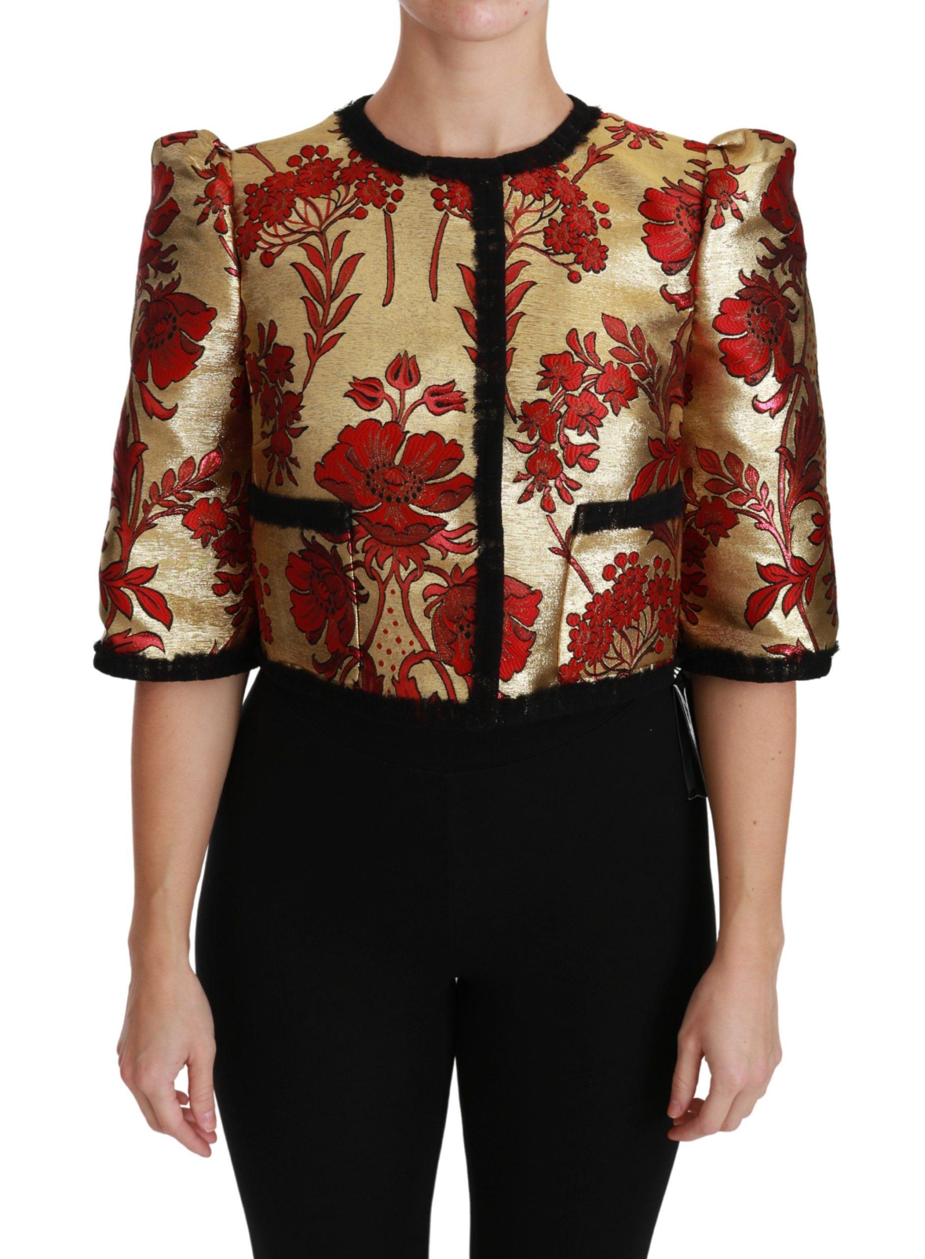 Dolce & Gabbana Women's Floral Brocade Cropped Jacket Red JKT2567 - IT42 M
