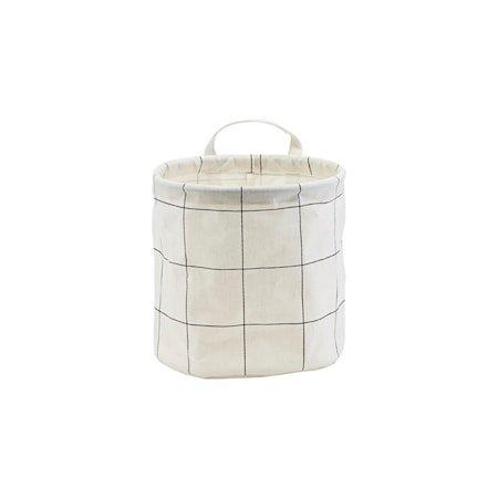 Oppbevaringspose Bomull Ruter Svart/Hvit Ø20 cm