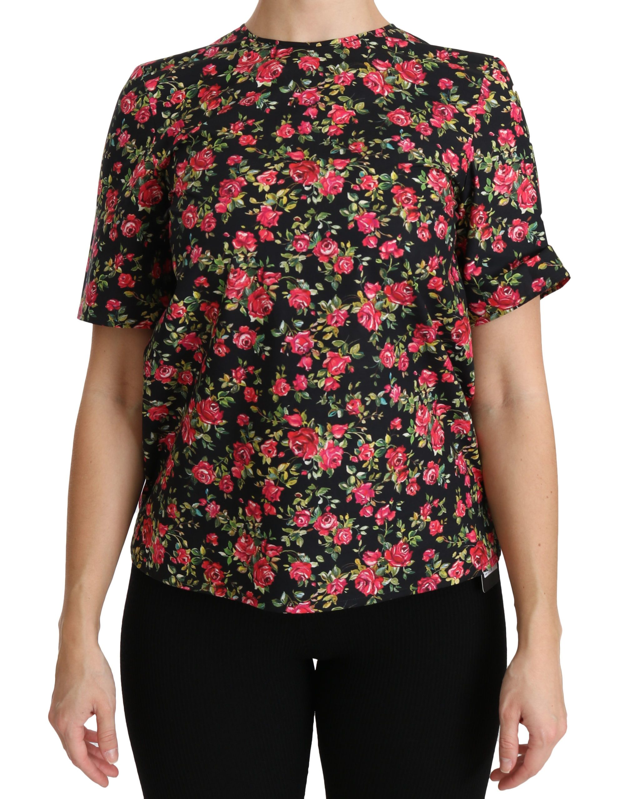 Black Floral Roses Short Sleeve Top Blouse - IT36 | XS