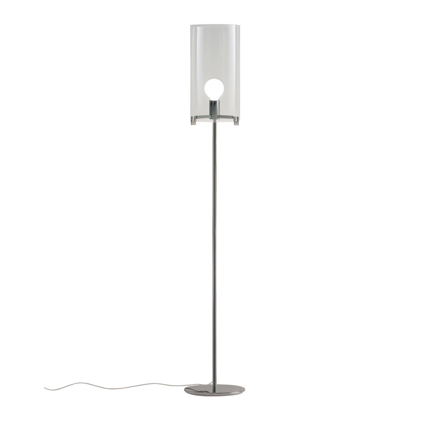 Prandina CPL F1 gulvlampe krom, glass transparent