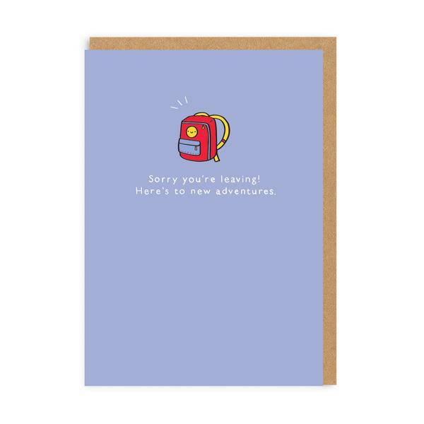 Sorry Leaving Backpack Enamel Pin Greeting Card