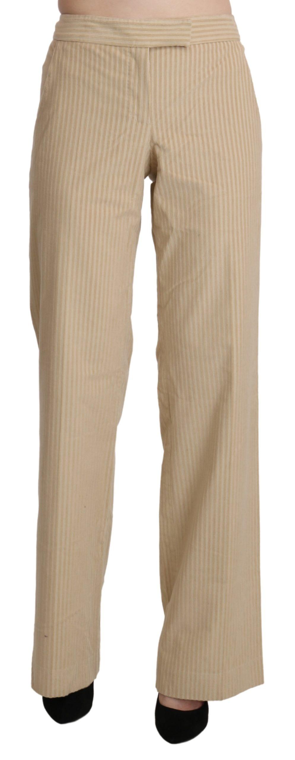 Beige High Waist Flared Wide Leg Trouser Pants - IT44 L