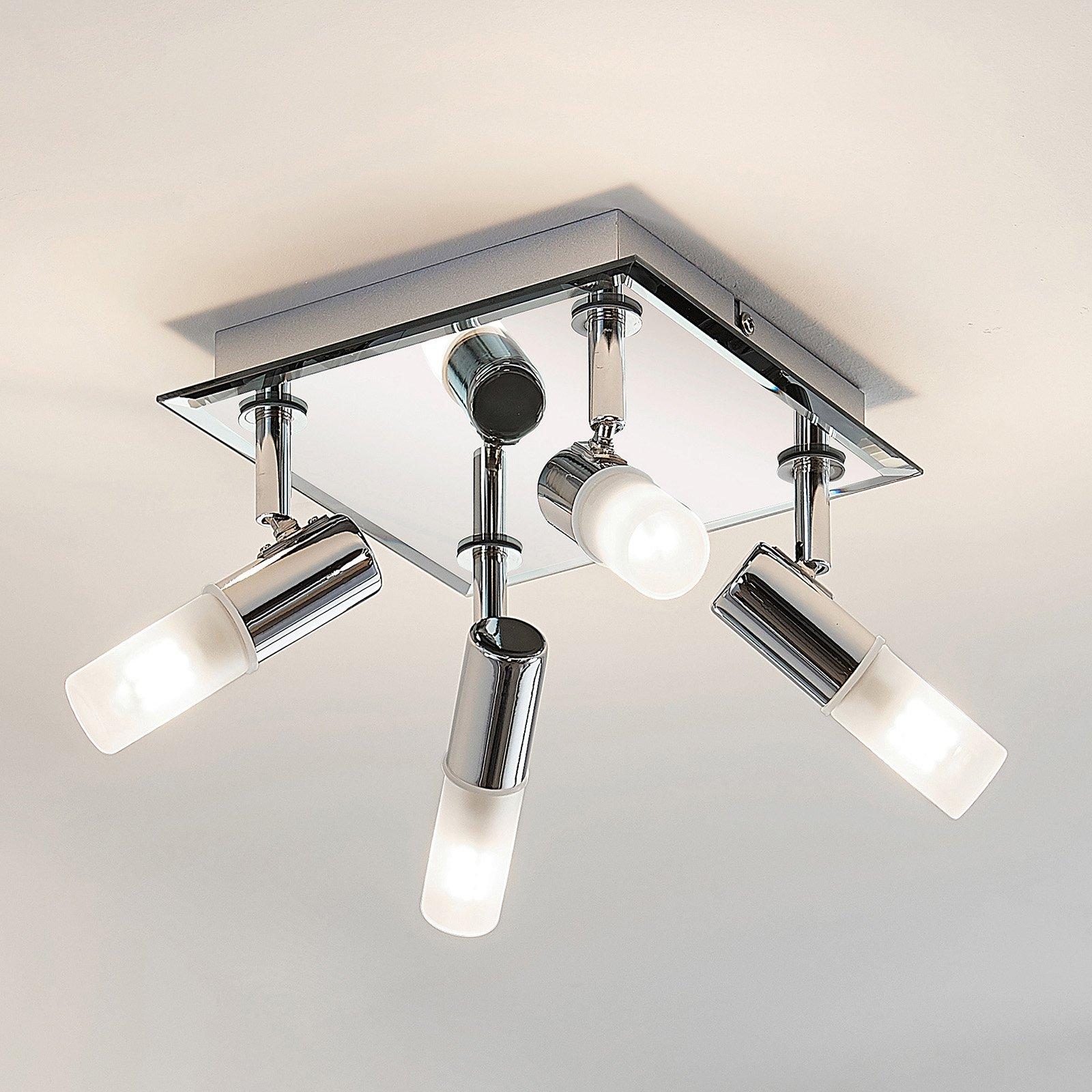 Taklampe til bad Zela, 4 lyskilder, 32 x 32 cm