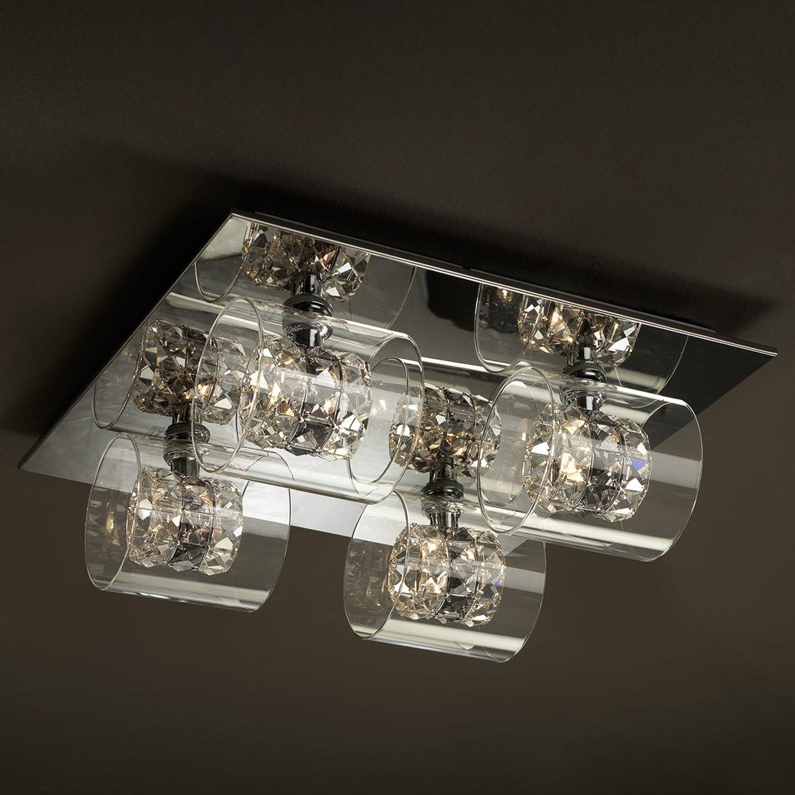 LED-taklampe Flash med krystallringer