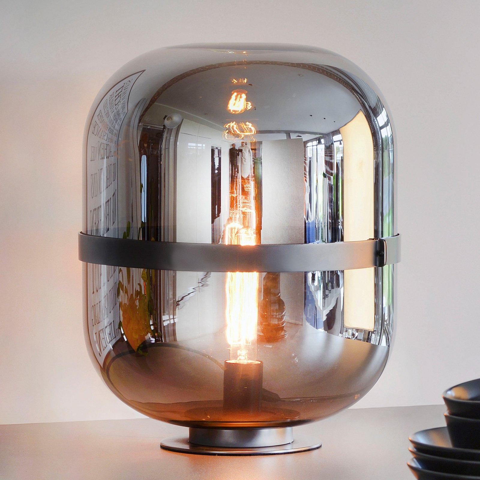 Bordlampe Baloni med røykgrå glasskjerm