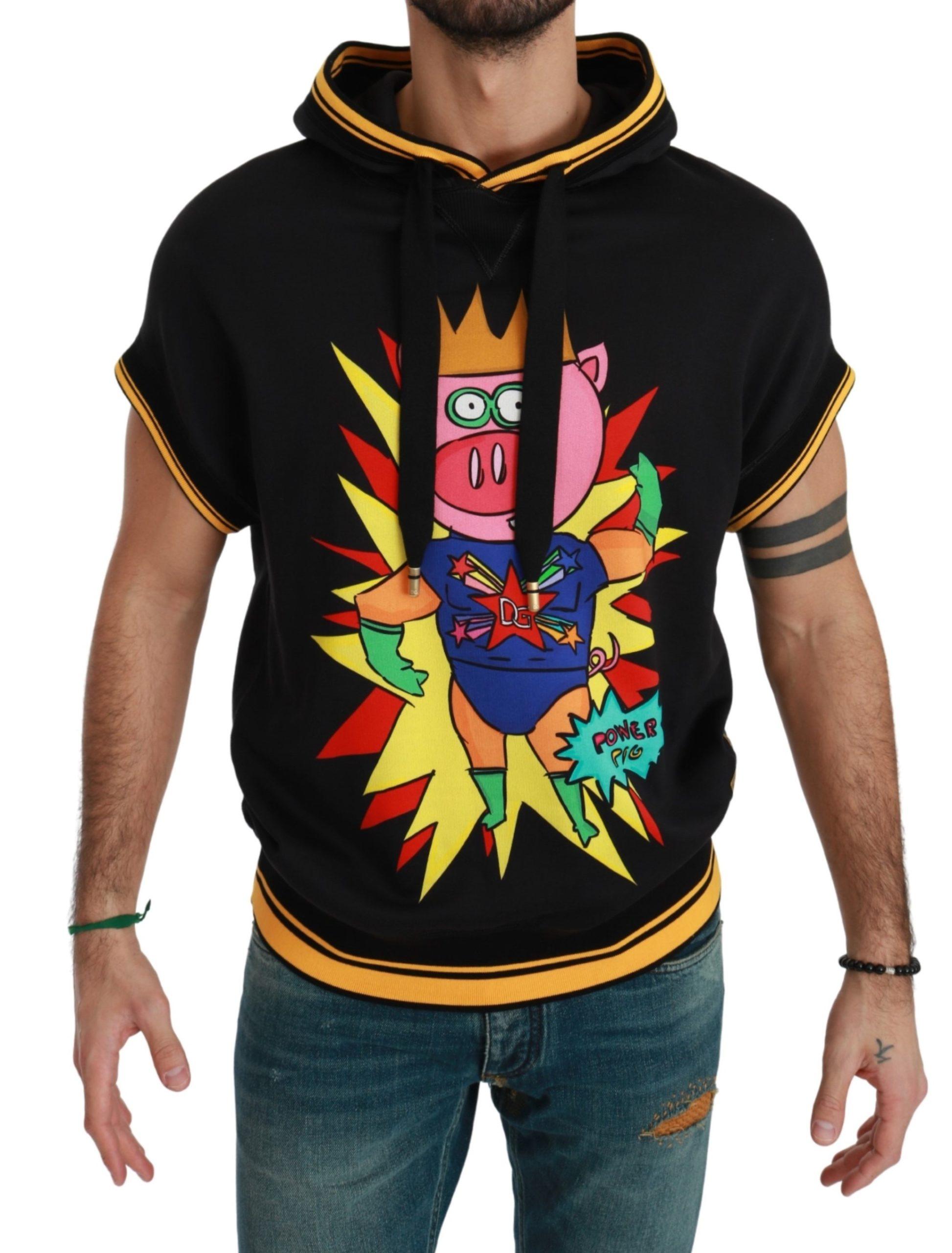Dolce & Gabbana Men's Hooded Pig of the Year Cotton Sweatshirt Black TSH4634 - IT44 | S