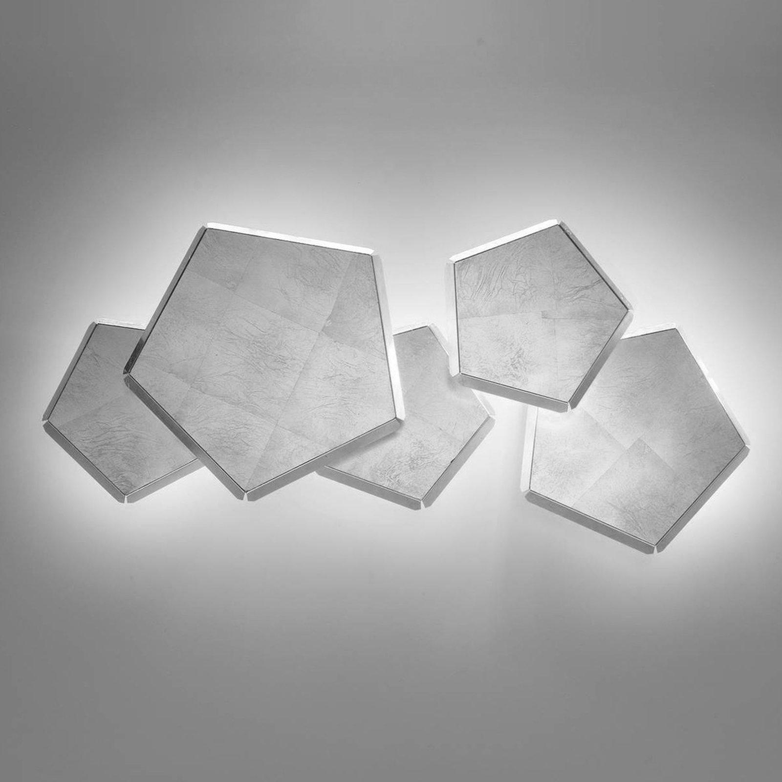LED-vegglampe Pleiadi med sølvblad, 5 lyskilder