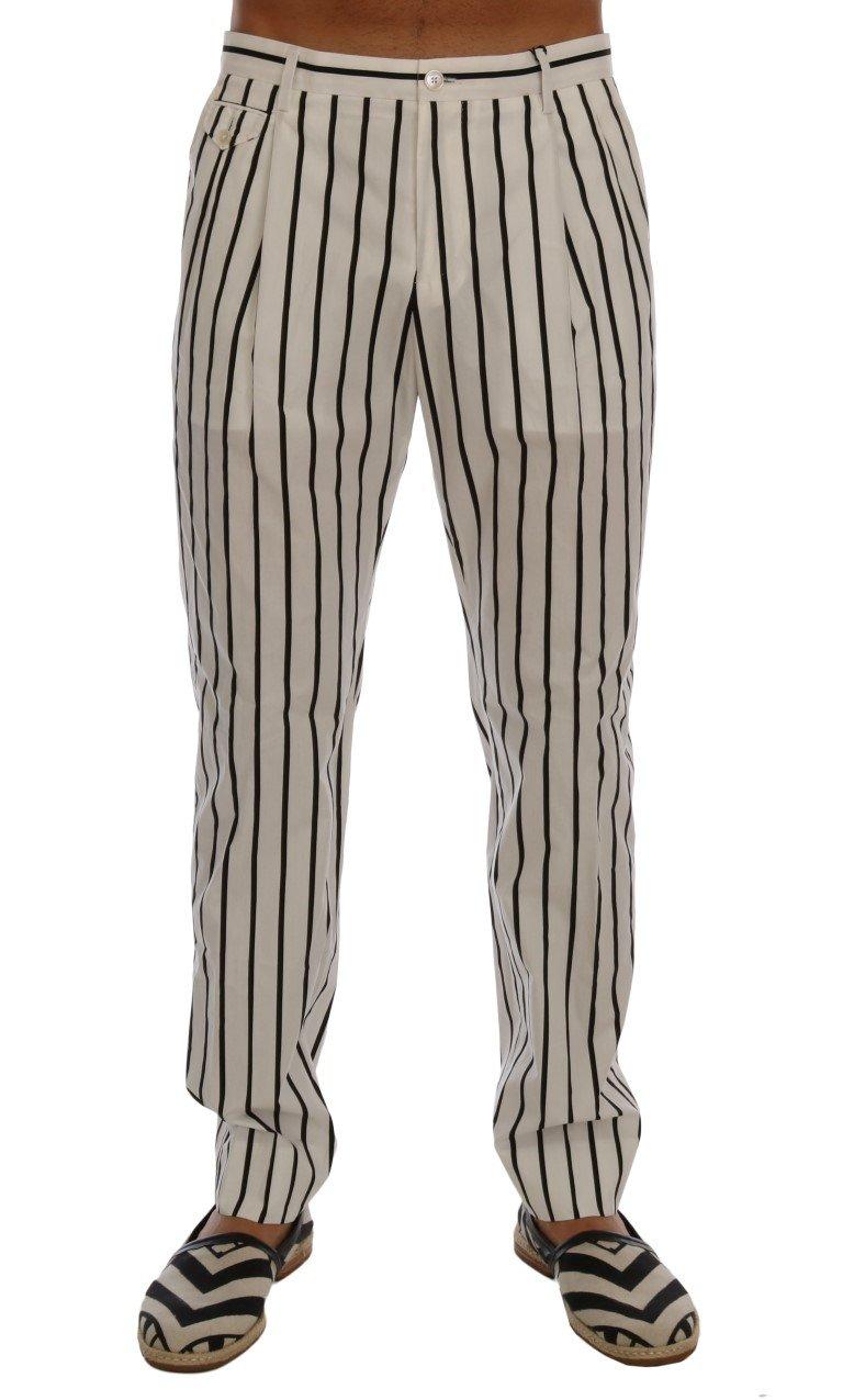 Dolce & Gabbana Men's Striped Cotton Dress Trouser Black/White PAN60735 - IT50 | L