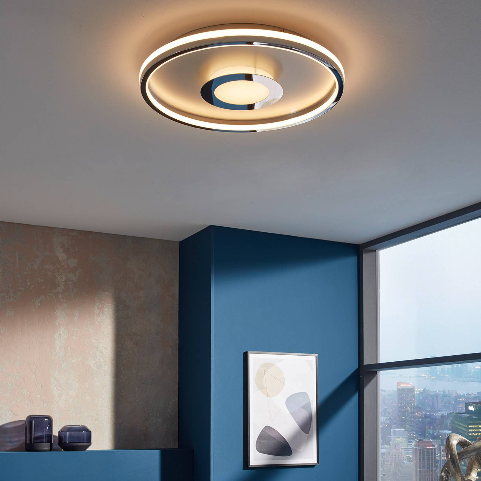 LED-kattovalaisin Bug pyöreä, kromi, 60 cm