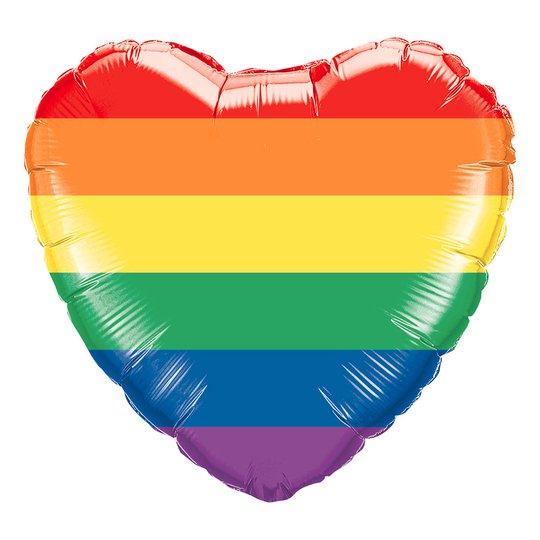 Folieballong Hjärta Regnbågsfärgat
