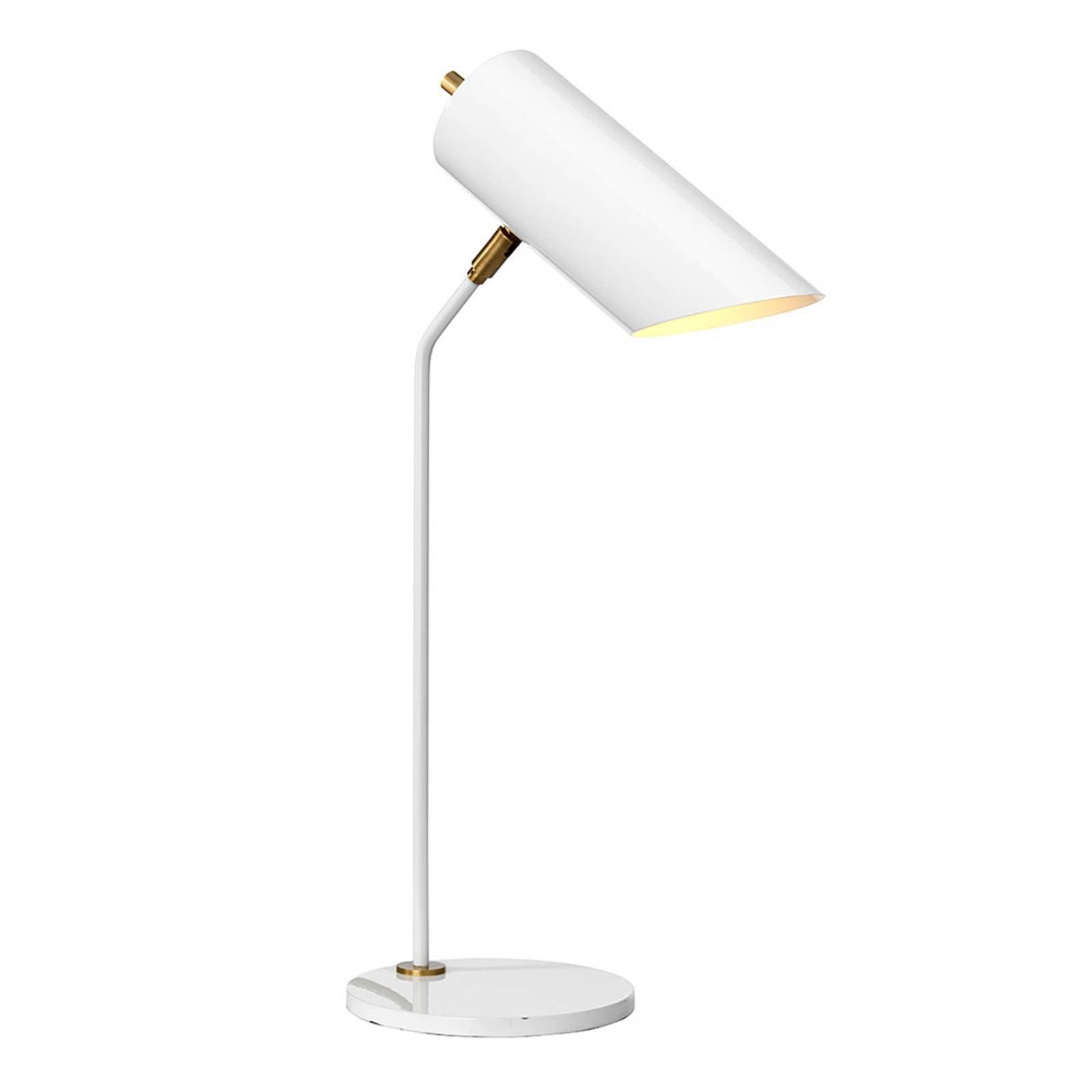Bordlampe Quinto, hvit/antikk messing