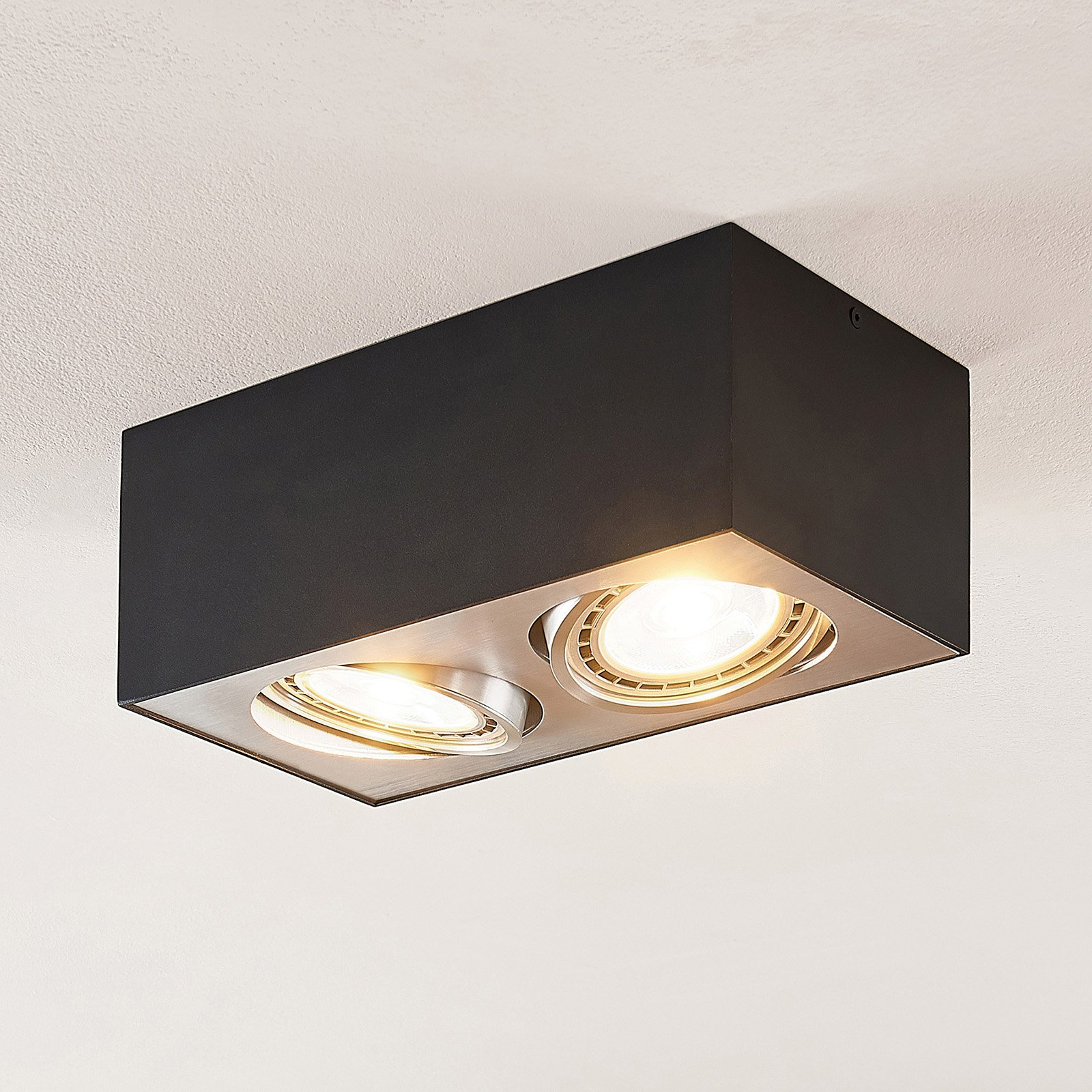 Arccio Dwight LED-taklampe i svart, 2 lyskilder