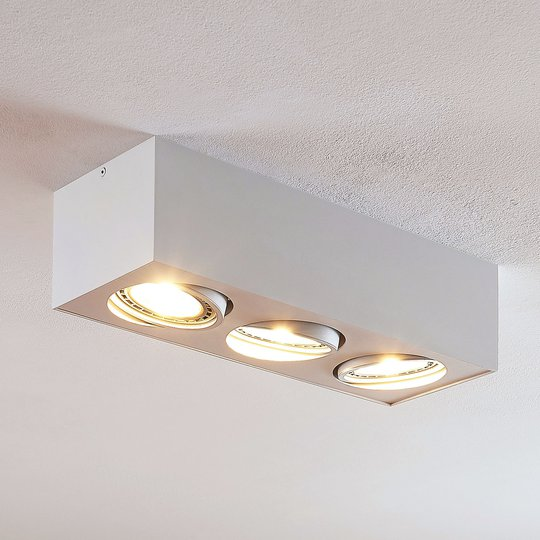 Arcchio Dwight -LED-kattovalo, valk. 3-lamp.
