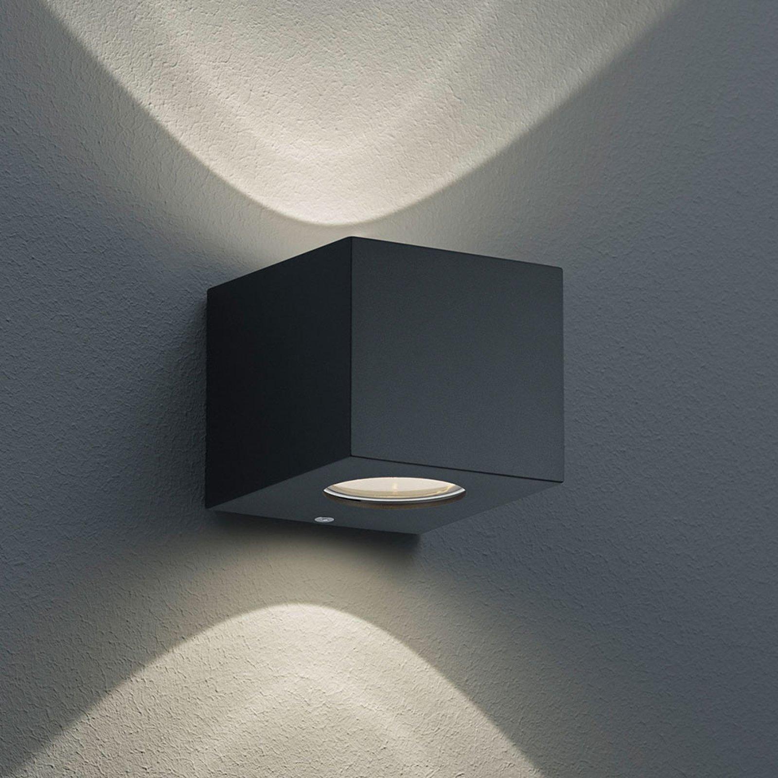 Firkantet, utendørs LED-vegglampe Cordoba, svart