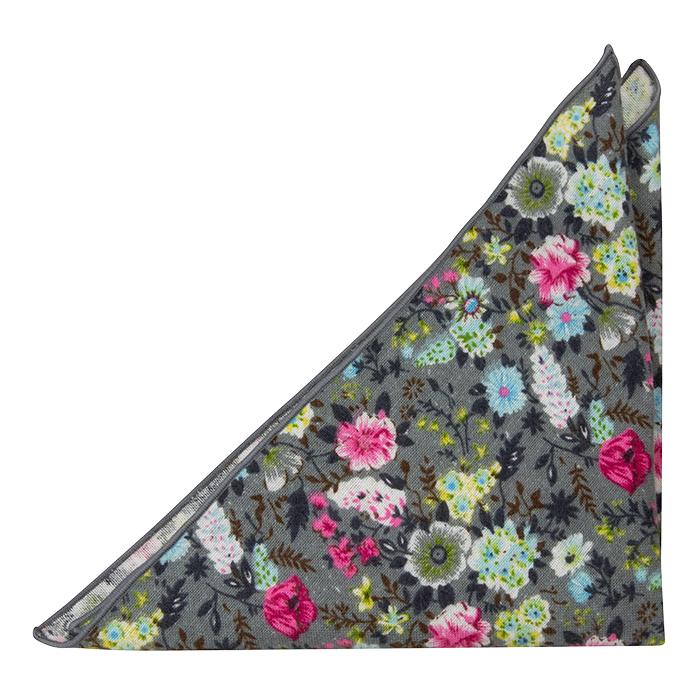 Bomull Lommetørkler, Rosa, blå, gule & grønne blomster på grått, Grå, Blomstrete