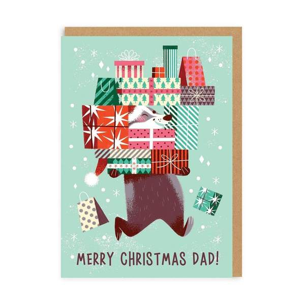 Dad Badger Merry Christmas Card