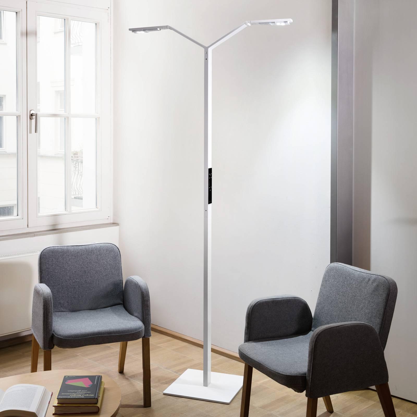 Luctra Floor Twin Linear LED-lattiavalo valkoinen