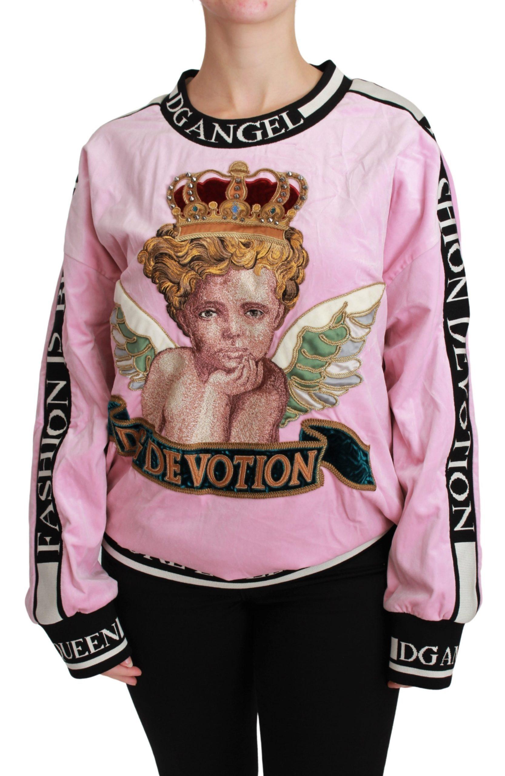 Dolce & Gabbana Women's Angel DG Devotion Velvet Sweater Pink TSH4625 - IT36   XS