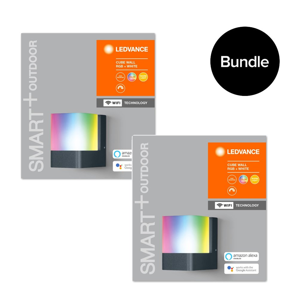 Ledvance - 2x Smart+ Outdoor Cube RGBW Wall Light - Bundle