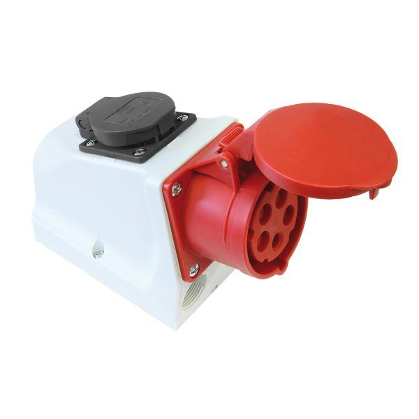 Garo UI 416-6 S+ RU/UIFG Seinäpistorasia IP44, 5-napainen, 16A Brittiläinen suko, punainen, 6 h