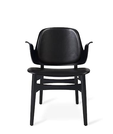 Gesture Lounge Chair BS Svart Läder, Svartlackad Ek