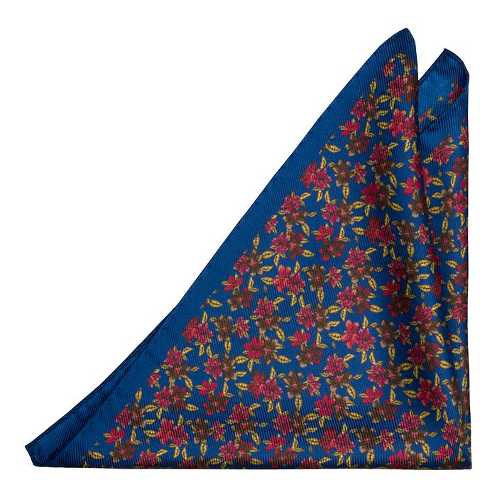 Silke Lommetørkler, Flerfargede blomster på koboltblå, Blå, Blomstrete