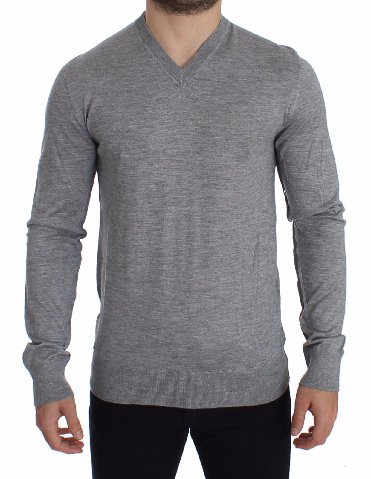 Dolce & Gabbana Men's Silk Cashmere V-neck Sweater Pullover Gray SIG14004 - IT44 | XS