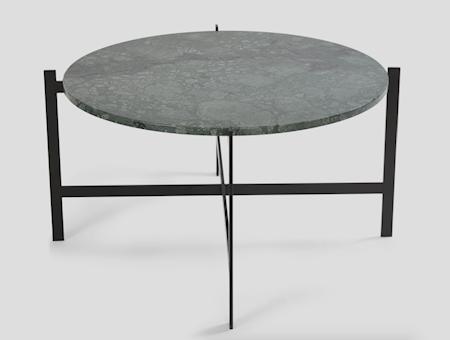 Deck table large - Grønn marmor / svartlakkert stamme
