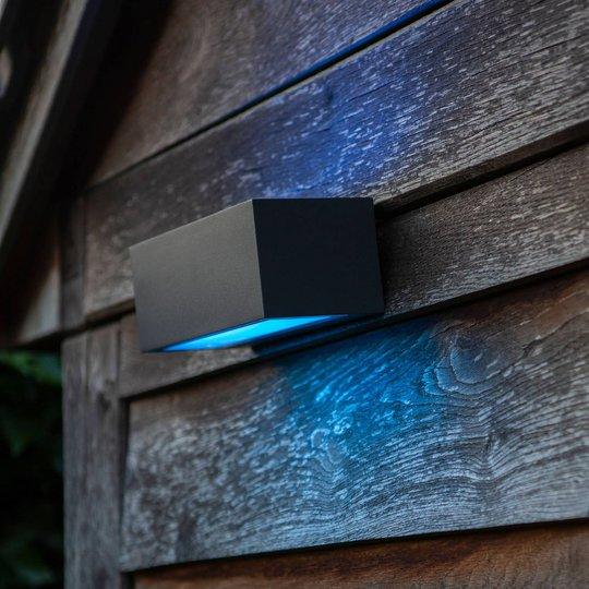 Gemini utendørs LED-vegglampe, RGBW, smart