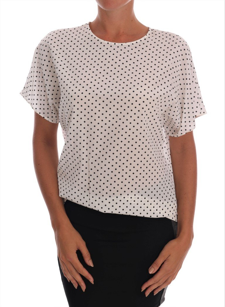 Dolce & Gabbana Women's Polka Dotted T-Shirt White TSH1438 - IT38|XS
