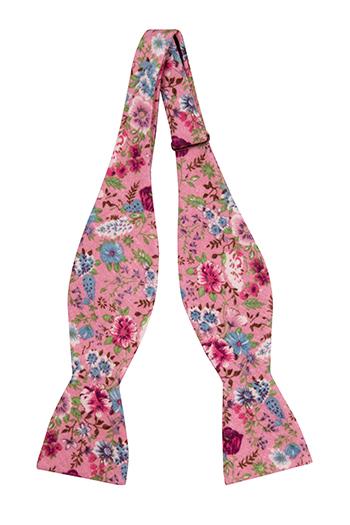 Bomull Sløyfer Uknyttede, Rosa, blå, lilla & grønne blomster på rosa