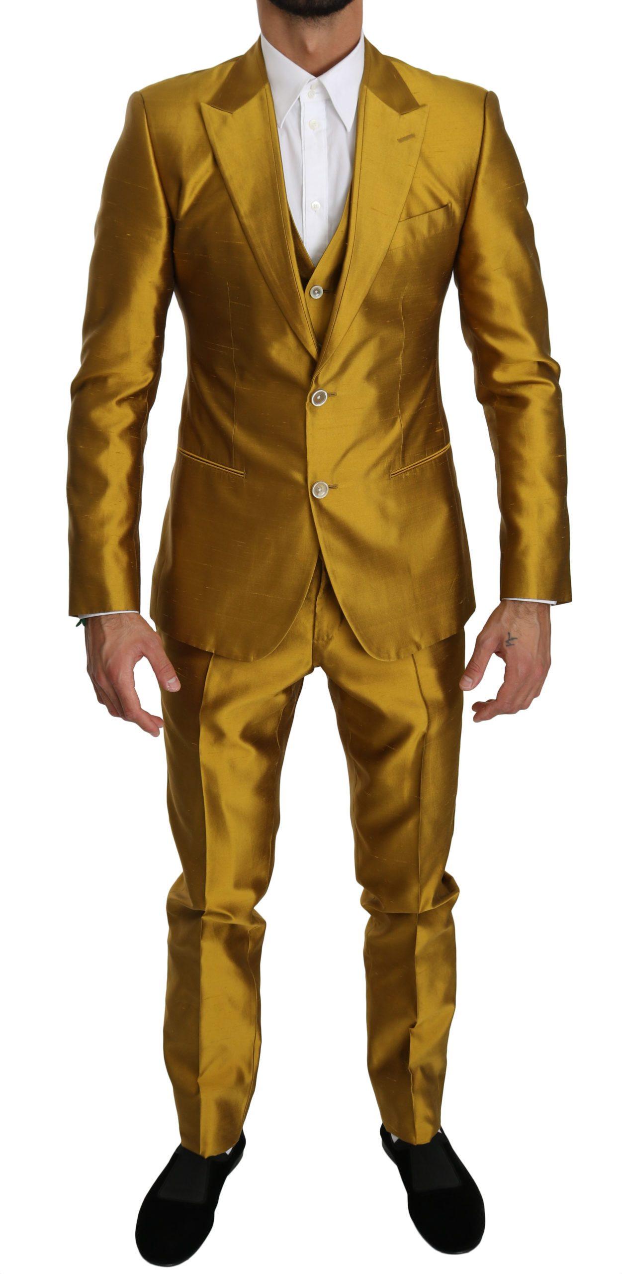 Dolce & Gabbana Men's Silk Slim Fit 3 Piece SICILIA Suit Gold KOS1552 - IT50   L