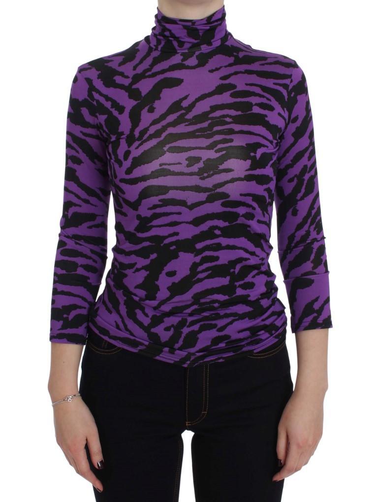 Exte Women's Tiger Print Stretch Turtleneck Sweater Purple SIG30486 - IT40|S