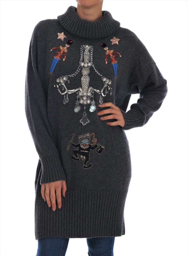 Dolce & Gabbana Women's Fairy Tale Cashmere Sweater Gray TSH1902 - IT44|L