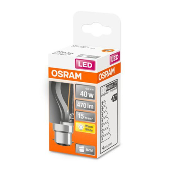 OSRAM-LED-golfpallolamppu B22d 4W 2 700 K kirkas