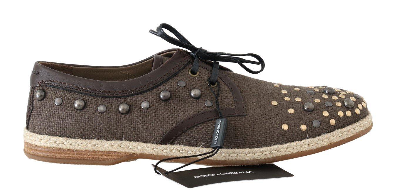 Dolce & Gabbana Men's Linen Leather Studded Trainer Brown MV1699 - EU43/US10