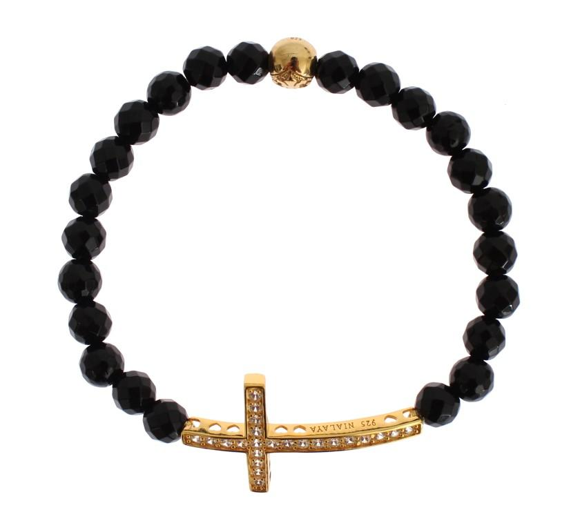 Nialaya Women's Agate Stone CZ 925 Bracelet Black SIG19012 - S