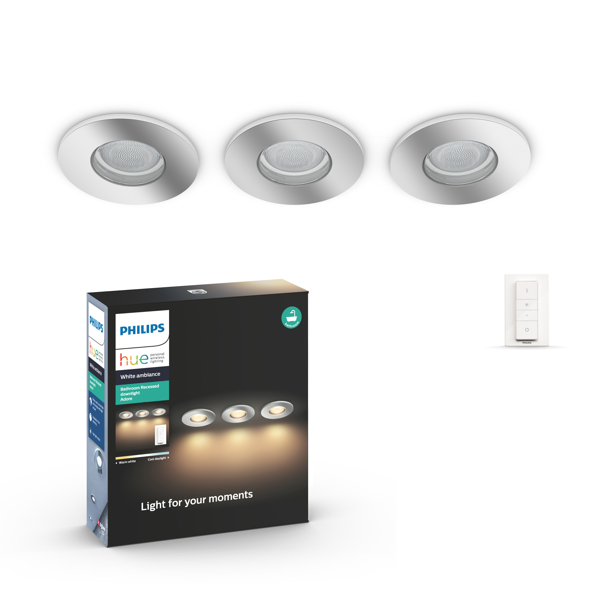 Philips Hue - Adore HUE recessed chrome 3x5W - White Ambiance Bluetooth
