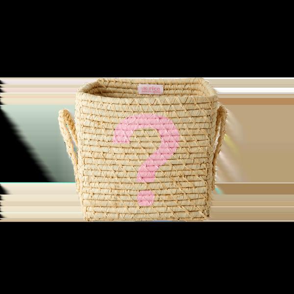 Rice - Small Square Raffia Basket - Pink ?