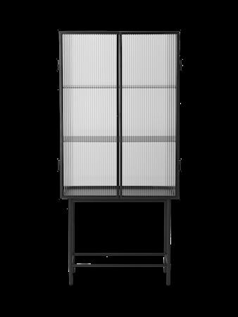 Haze Vitrinskåp Räfflat Glas Svart 70x155 cm
