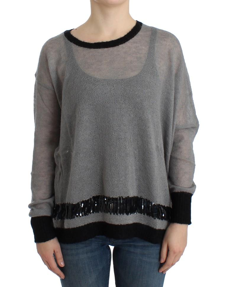 Costume National Women's embellished Asymmetric Sweater Gray SIG12049 - S