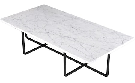 Ninety Table XL - Carrara marmor/svartlackerad metallstomme H30 cm