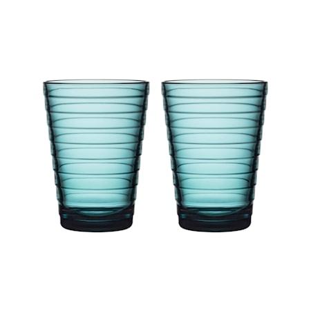 Aino Aalto glas 33 cl havsblå 2 st