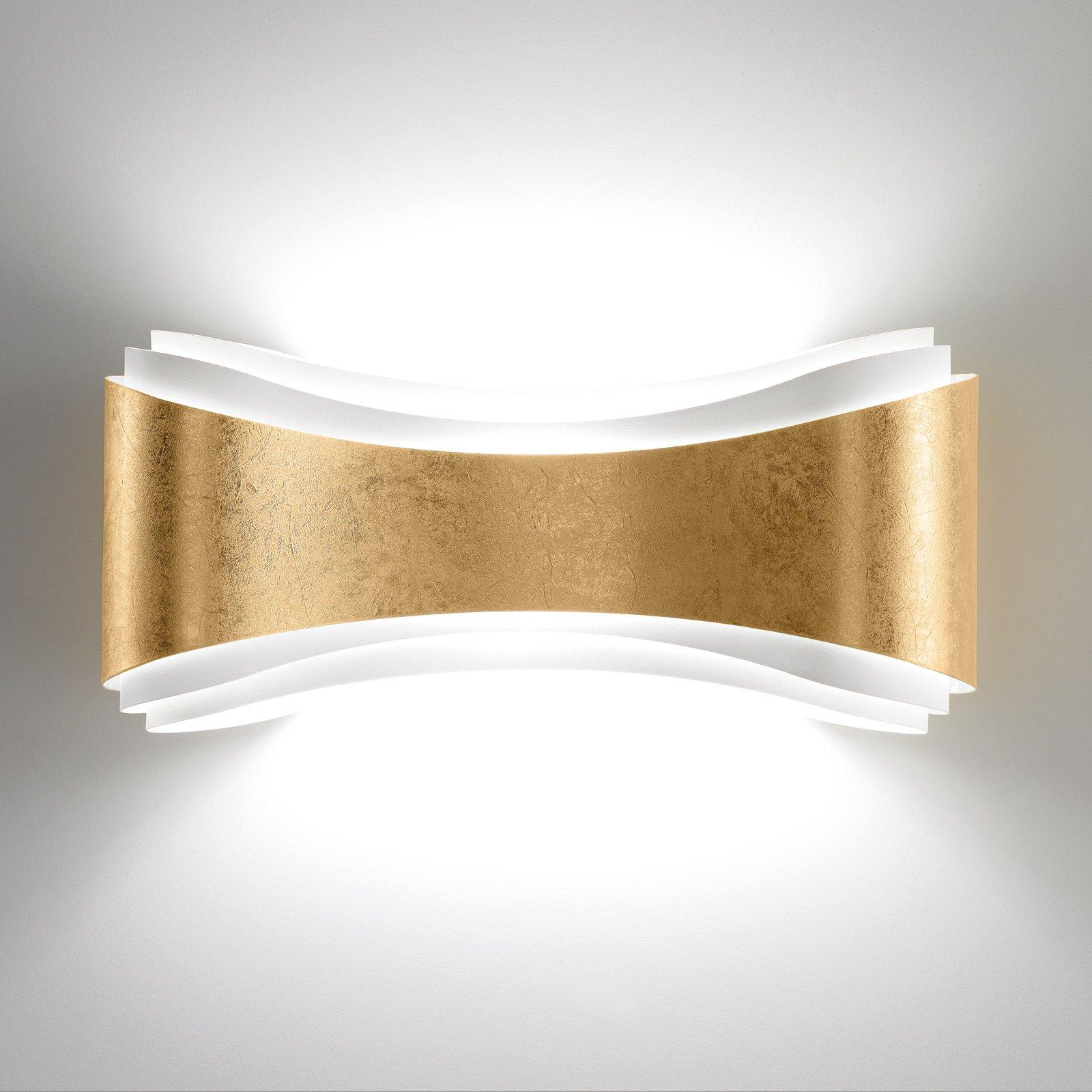 LED-vegglampe Ionica av stål bladdekorasjon