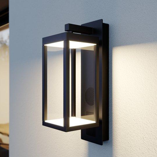 Lucande Ditta -LED-ulkoseinälamppu kaiuttimella