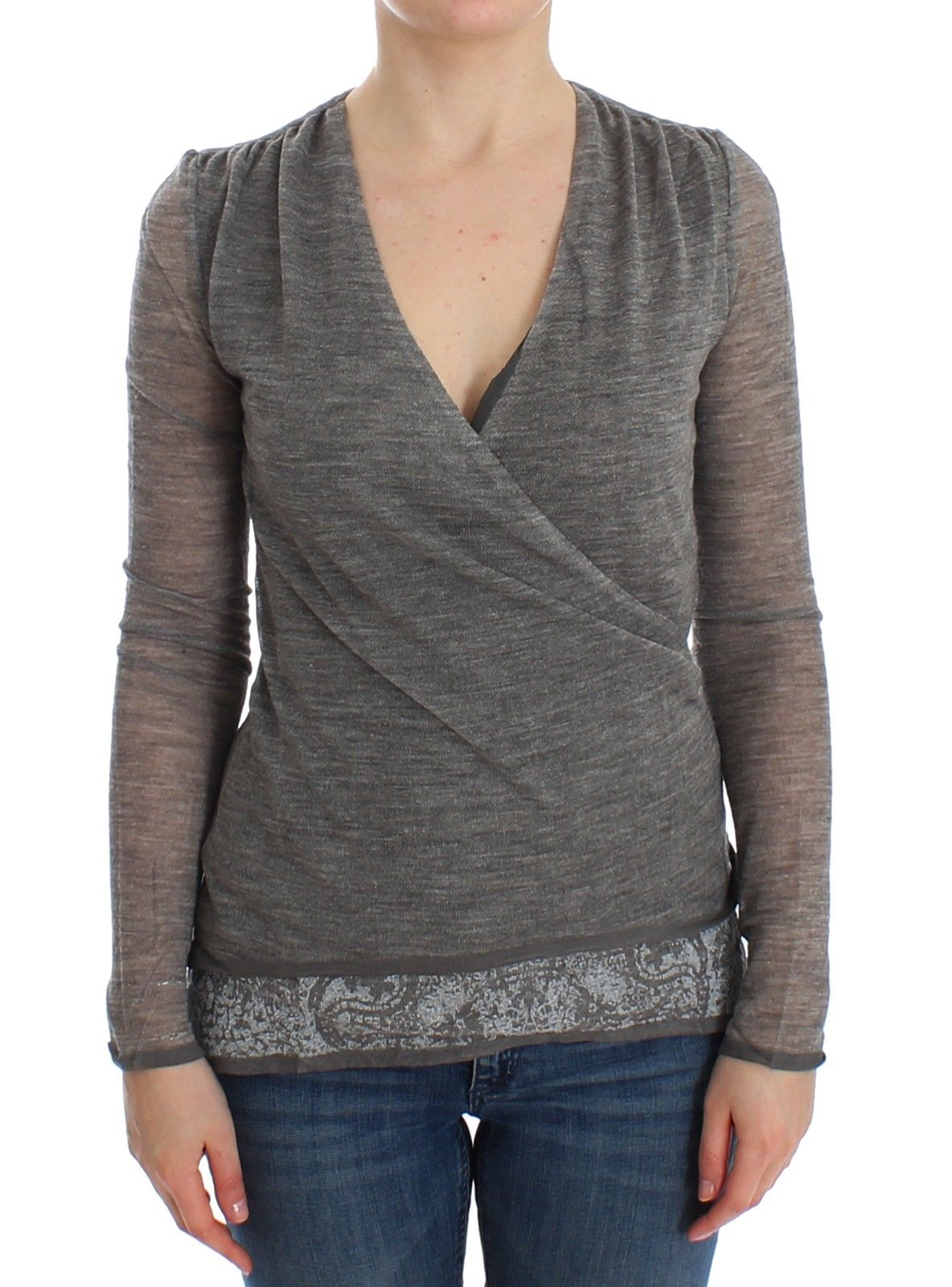 Ermanno Scervino Women's Long Sleeve Sweater Grey SIG12586 - IT44   M