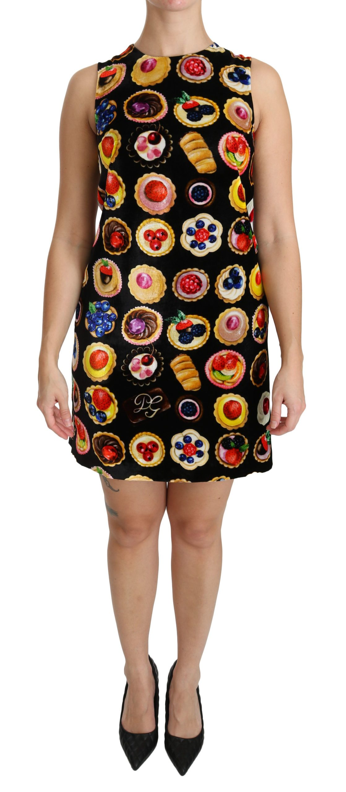 Dolce & Gabbana Women's Desserts Shift Mini Viscose Dress Black DR2144 - IT38 XS